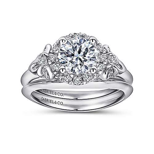 Keisha 18k White Gold Round Halo Engagement Ring