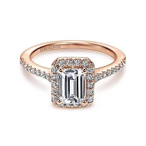 Kelsey 14k Rose Gold Emerald Cut Halo Engagement Ring