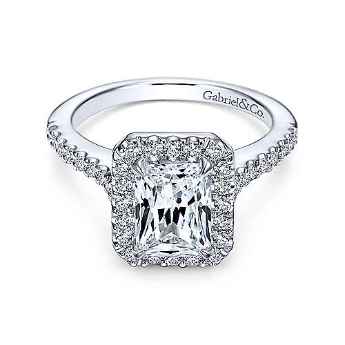 Gabriel - Kelsey 14k White Gold Emerald Cut Halo Engagement Ring