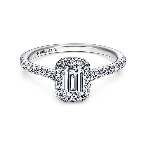 Kelsey 14k White Gold Emerald Cut Halo Engagement Ring angle 1