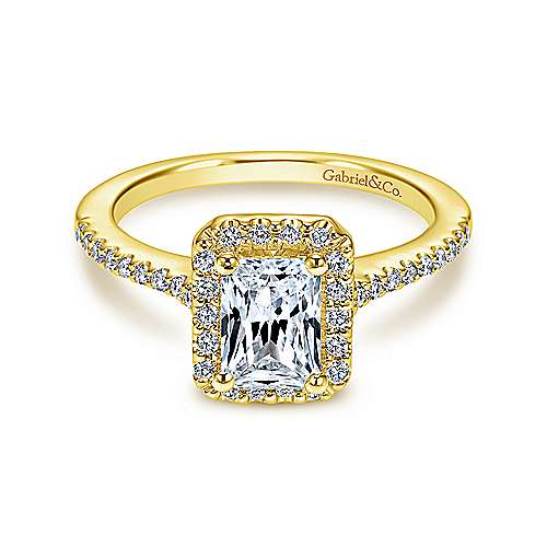 Gabriel - Kelsey 14k Yellow Gold Emerald Cut Halo Engagement Ring