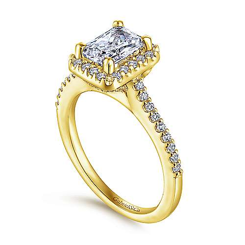 Kelsey 14k Yellow Gold Emerald Cut Halo Engagement Ring angle 3