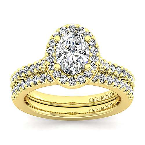 Kelsey 14k Yellow Gold Oval Halo Engagement Ring angle 4