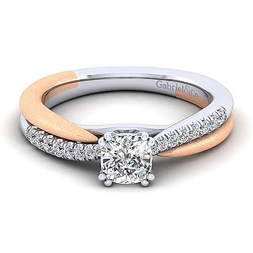 Gabriel - Kendall 14k White And Rose Gold Cushion Cut Twisted Engagement Ring