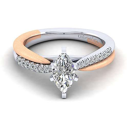 Gabriel - Kendall 14k White And Rose Gold Marquise  Twisted Engagement Ring