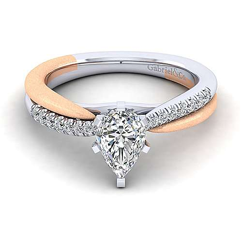 Gabriel - Kendall 14k White And Rose Gold Pear Shape Twisted Engagement Ring