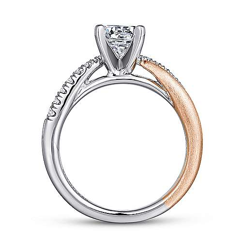 Kendall 14k White And Rose Gold Round Twisted Engagement Ring angle 2