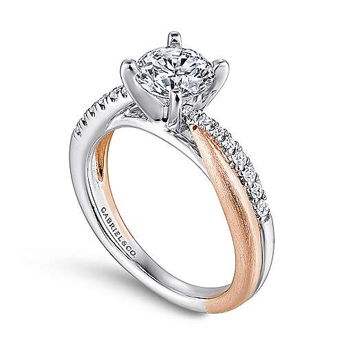Kendall 14k White/pink Gold Round Twisted Engagement Ring angle 3