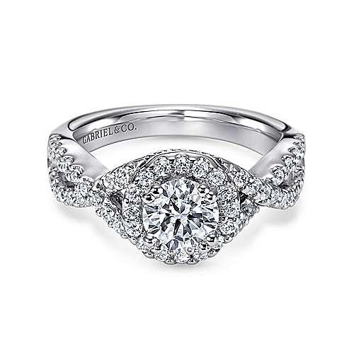 Gabriel - Kendie 14k White Gold Round Halo Engagement Ring