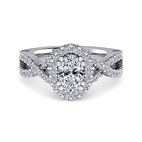Kendie Platinum Oval Halo Engagement Ring angle 1