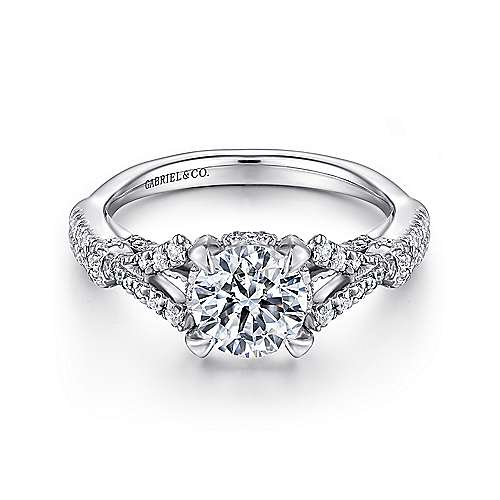 Gabriel - Kendra 14k White Gold Round Criss Cross Engagement Ring