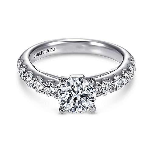 Gabriel - Kenia 14k White Gold Round Straight Engagement Ring