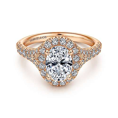Gabriel - Kennedy 14k Rose Gold Oval Halo Engagement Ring