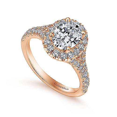 Kennedy 14k Rose Gold Oval Halo Engagement Ring