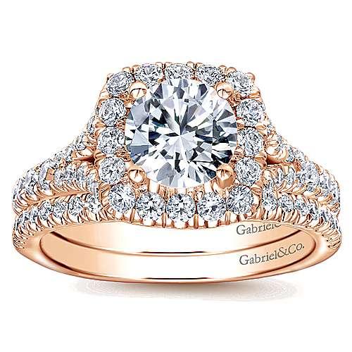 Kennedy 14k Rose Gold Round Halo Engagement Ring