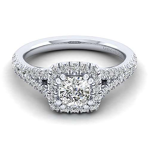 Gabriel - Kennedy 14k White Gold Cushion Cut Halo Engagement Ring