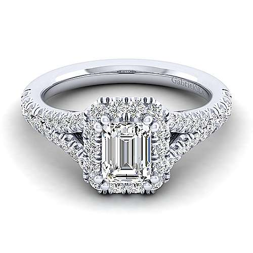 Gabriel - Kennedy 14k White Gold Emerald Cut Halo Engagement Ring