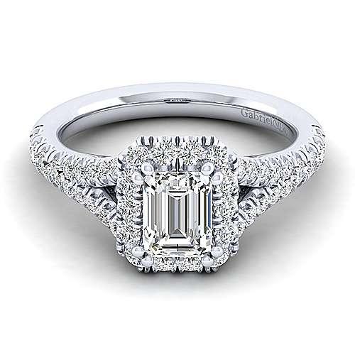 Gabriel - Kennedy 14k White Gold Emerald Cut Halo Engagement Ring