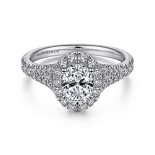 Gabriel - Kennedy 14k White Gold Oval Halo Engagement Ring