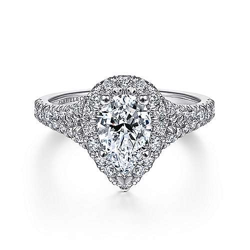 Gabriel - Kennedy 14k White Gold Pear Shape Halo Engagement Ring