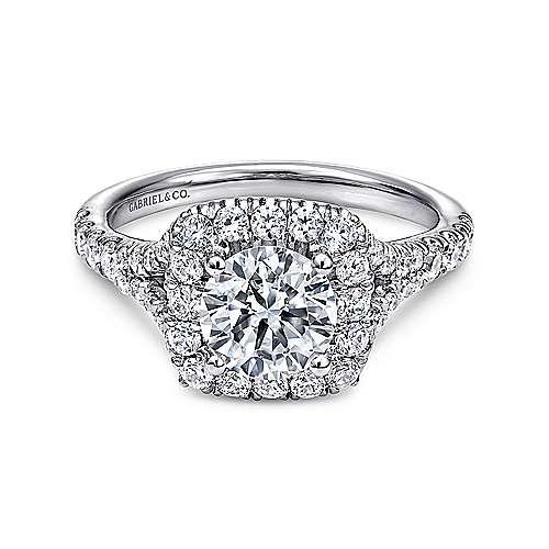 Gabriel - Kennedy 14k White Gold Round Halo Engagement Ring