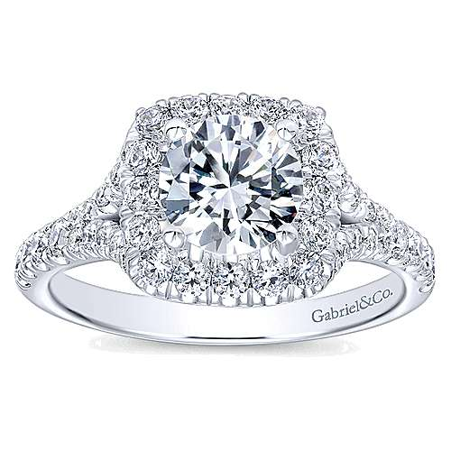 Kennedy 14k White Gold Round Halo Engagement Ring angle 5