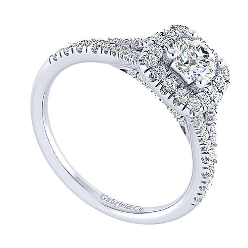 Kennedy 14k White Gold Round Halo Engagement Ring angle 3