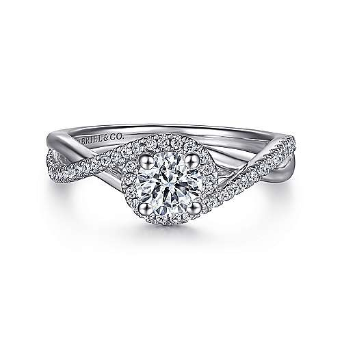 Gabriel - Kennedy 14k White Gold Round Twisted Engagement Ring