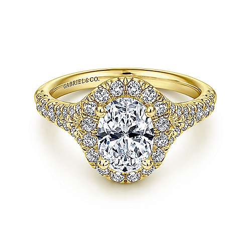 Gabriel - Kennedy 14k Yellow Gold Oval Halo Engagement Ring
