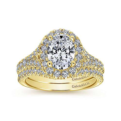 Kennedy 14k Yellow Gold Oval Halo Engagement Ring angle 4