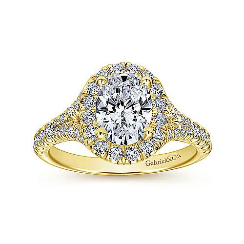 Kennedy 14k Yellow Gold Oval Halo Engagement Ring angle 5