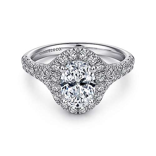 Gabriel - Kennedy Platinum Oval Halo Engagement Ring