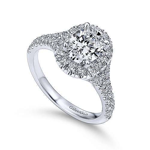 Kennedy Platinum Oval Halo Engagement Ring angle 3