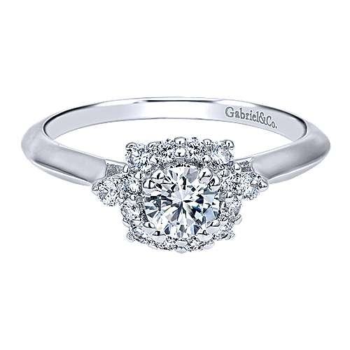 Gabriel - Kenzo 14k White Gold Round Halo Engagement Ring