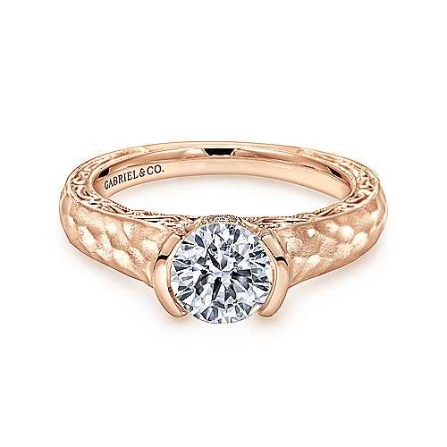 Gabriel - Kiera 14k Pink Gold Round Solitaire Engagement Ring