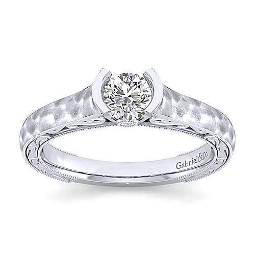 Kiera 14k White Gold Round Solitaire Engagement Ring angle 5