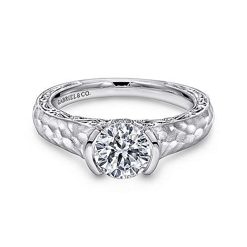 Gabriel - Kiera 14k White Gold Round Solitaire Engagement Ring