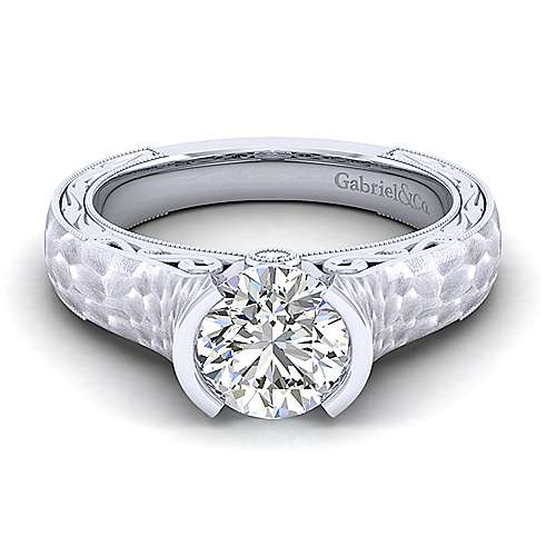 Gabriel - Kiera 14k White Gold Round Straight Engagement Ring