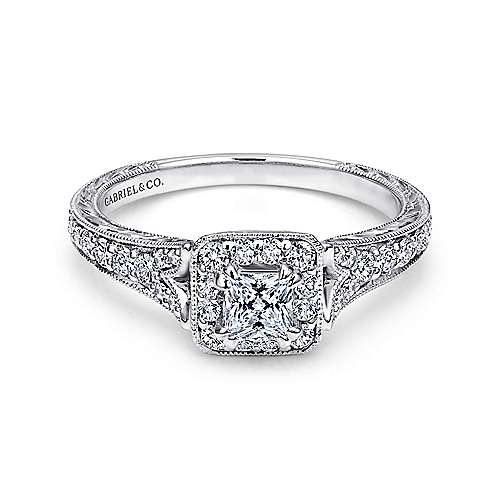 Gabriel - Kind 14k White Gold Princess Cut Halo Engagement Ring