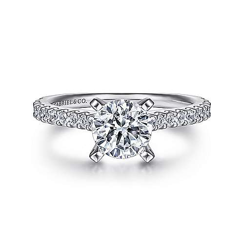 Gabriel - Kinley 14k White Gold Round Straight Engagement Ring