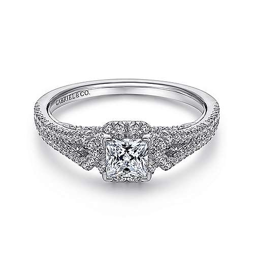 Kios 14k White Gold Princess Cut Halo Engagement Ring angle 1