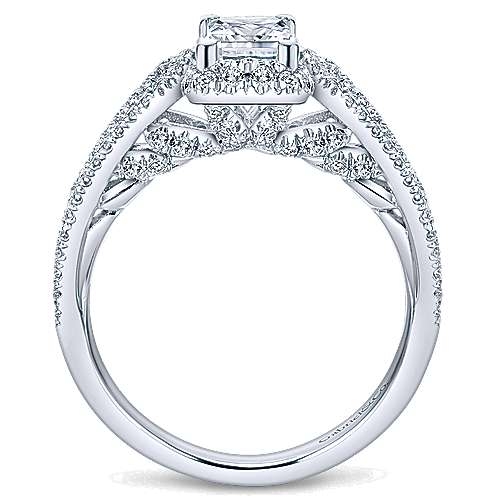 Kios 14k White Gold Princess Cut Halo Engagement Ring angle 2