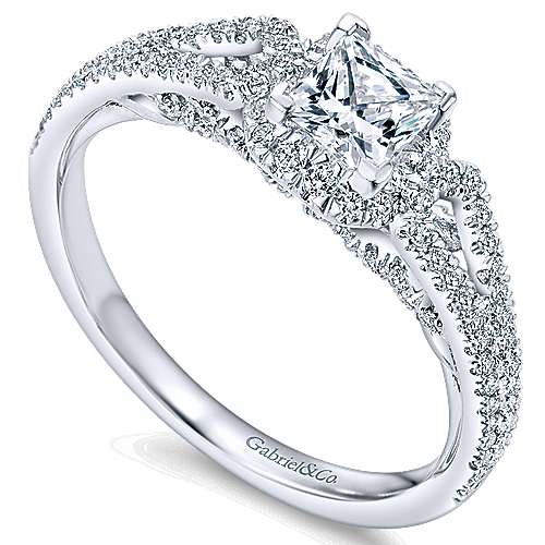 Kios 14k White Gold Princess Cut Halo Engagement Ring angle 3