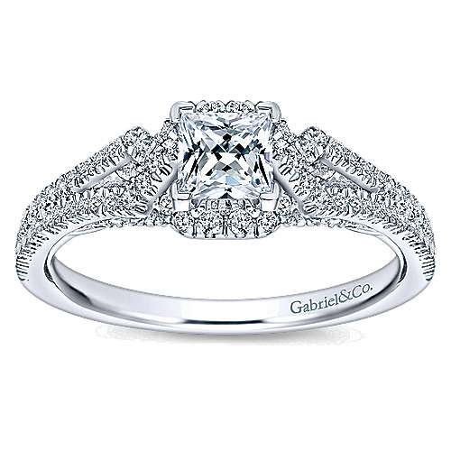 Kios 14k White Gold Princess Cut Halo Engagement Ring angle 5