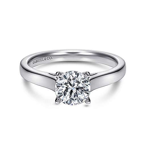 Gabriel - Kipling 14k White Gold Round Solitaire Engagement Ring