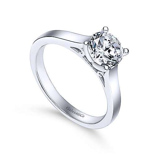 Kipling 14k White Gold Round Solitaire Engagement Ring angle 3