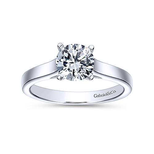 Kipling 14k White Gold Round Solitaire Engagement Ring angle 5