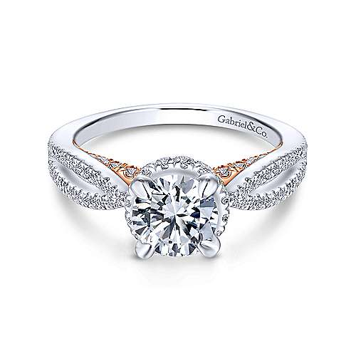 Gabriel - Kira 14k White And Rose Gold Round Split Shank Engagement Ring