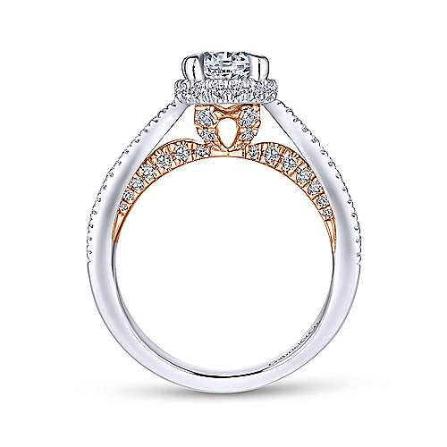 Kira 14k White And Rose Gold Round Split Shank Engagement Ring angle 2