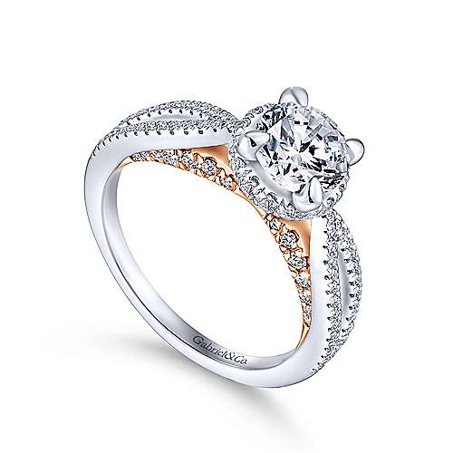 Kira 14k White And Rose Gold Round Split Shank Engagement Ring angle 3
